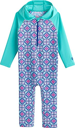 (Coolibar UPF 50+ Baby Hooded One Piece Swimsuit - Sun Protective (18-24 Months- Aqua Spanish Mosaic))