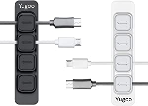 Yugoo Magnetic Cable Holder, Magnetic Cable Clips Multipurpose Organizer, Desktop Cord Management for All Wires (2 Pack, Black and White)