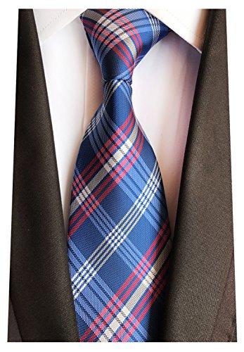 Streak Rayé Classique Des Hommes Mendeng Cravates Cravate De Soie Bleue