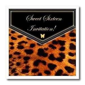 ht_40610_3 Edmond Hogge Jr Invitations - Leopard Sweet Sixteen Invitation - Iron on Heat Transfers - 10x10 Iron on Heat Transfer for White Material