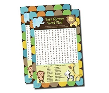 Wonderful Word Find Search   Baby Shower Game   King Of Jungle Theme (50 Sheets