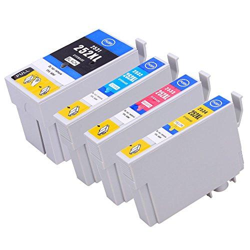 Generic 252 XL High Yield Compatible Ink Cartridges for Epson T252XL WorkForce WF-3620 WF-3640 WF-7110 WF-7610 WF-7620(1x Black, 1x Cyan, 1x Magenta,1x Yellow)