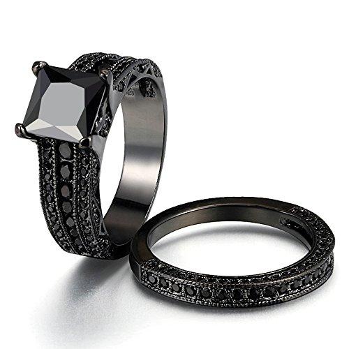 Unique Wedding Band Sets: Women's Gothic Retro Black Gold Wedding Engagement Band