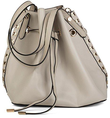 styleBREAKER set de bolsos de hombro con decoraciones de remaches de metal laterales, bolso de bandolera, bolso para compras, bolso, de señora 02012164, color:Gris claro Gris claro