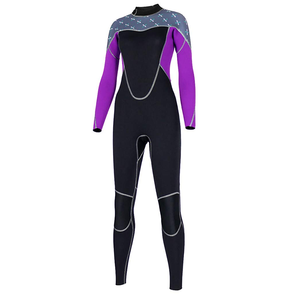 YEZIJIN Women's Stretch Full Body Wetsuit Surf Swim Diving Steamer Wetsuit top Long/Short Sleeve Purple by Yezijin_Swimsuit (Image #1)