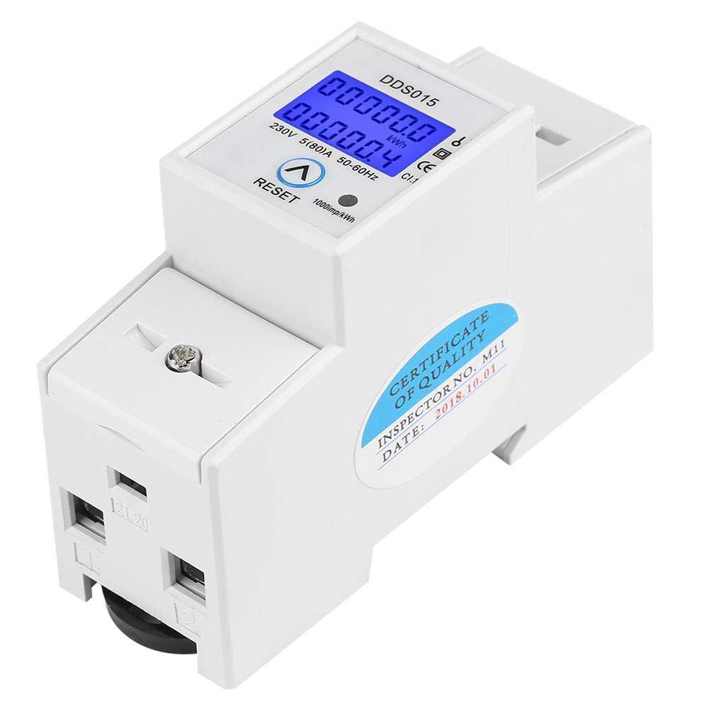 Keenso 5-80A 230V 50Hz Medidor de vatios digital monof/ásico Medidor KWh de carril DIN DDS015 Medidor de energ/ía LCD