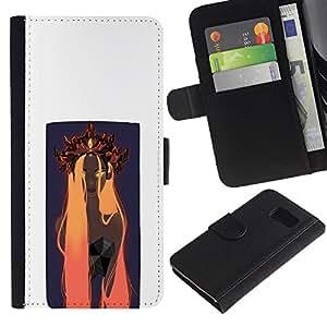JackGot ( Naranja Woamn Cabello ) Sony Xperia Z3 Compact / Z3 Mini (Not Z3) la tarjeta de Crédito Slots PU Funda de cuero Monedero caso cubierta de piel