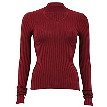 091fe340c90 Brave Soul Ladies Knitted Ribbed Jumper Womens Choker Neck Top ...