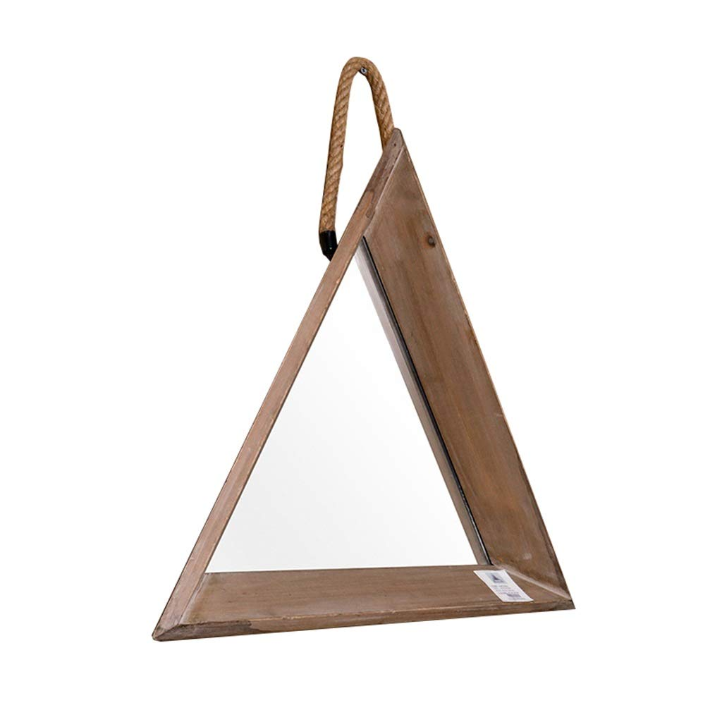 HGXC Retro Triangle Hanging Mirror, Wooden Bathroom Wall-Mounted Vanity Mirror and Shaving Mirror Vintage Decoration Mirror