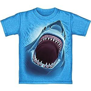 Great White Shark Turquoise Heathered Youth Tee Shirt (Kids Medium)