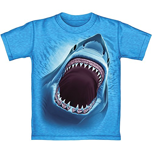 Great White Shark Turquoise Heathered Youth Tee Shirt (Kids Medium)