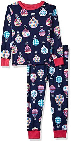 Hatley Girls' Little Organic Cotton Long Sleeve Printed Pajama Sets, Cute Hot air Balloons 2 Years