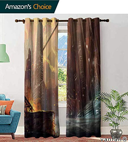 LQQBSTORAGE Custom Pattern Curtains Panels The City After war Realistic Style Scene Wallpaper Design, Curtains Girls Room, W84 x L84 Inch, (2 ()