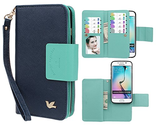 Case for Samsung S6 Edge,xhorizon TM FLK Premium Leather Folio Case Wallet Magnetic Detachable Wristlet Purse Flip Multiple Card Slots Bird Case for Samsung Galaxy S6 Edge (Navy)