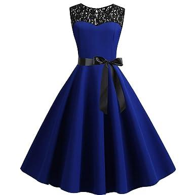 03ed1dba05d POachers Femme Vintage Couleur Unie sans Manches Robe de soirée-Vintage  rétro Audrey Hepburn Robe