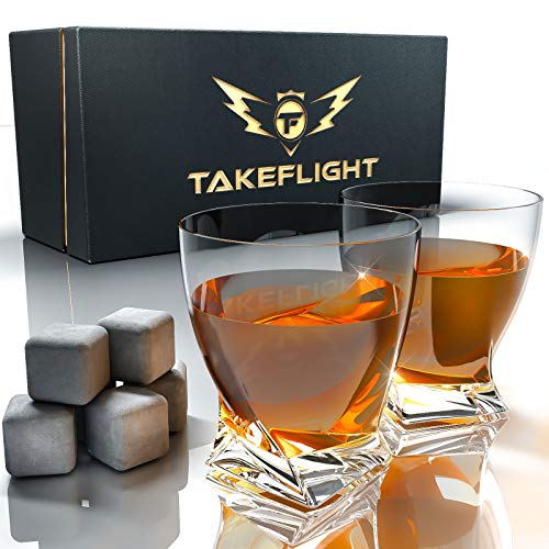 Whiskey Glasses and Whiskey Stones - Premium Whiskey Glass Set, 2 Twist Style Glasses for Scotch or Bourbon in Gift Box | Bar Set for Man Cave, Gift for Man or Woman