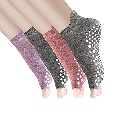 Yoga Socks Non Slip Pilates Barre with Grips for Women 4 Pack by Cosfash