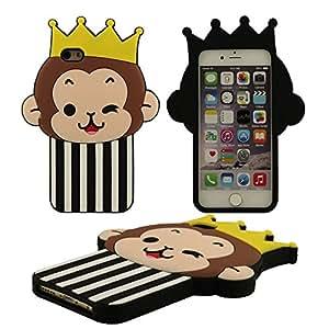 Linda Corona Pequeño Mono Diseño Negro Suave Silicona Gel Anti choque Silicona Carcasa Protectora Case Funda para Apple iPhone 6 / 6S 4.7 inch