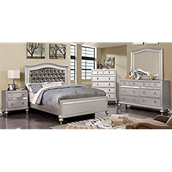 Esofastore Ariston Bedroom Furniture Classic Contemporary Silver Finish 4pc Bedroom Set Queen Size Bed Dresser Mirror