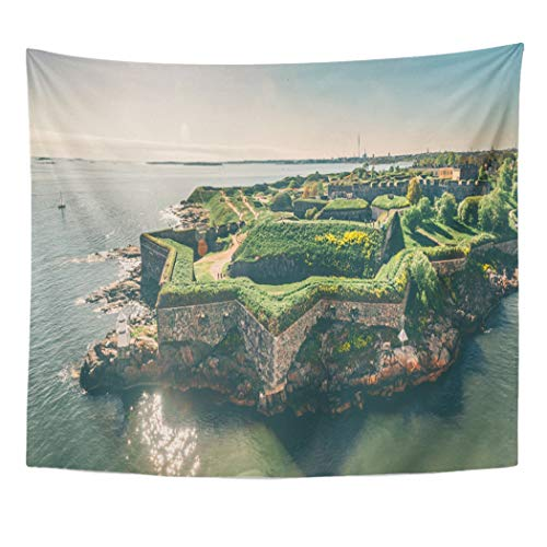Emvency Decor Wall Tapestry Bastions of Finnish Fortress Suomenlinna Sweeden Name Sveaborg at The Coast Baltic Sea in Helsinki Finland Wall Hanging Picnic for Bedroom Living Room Dorm 60x50 Inches ()