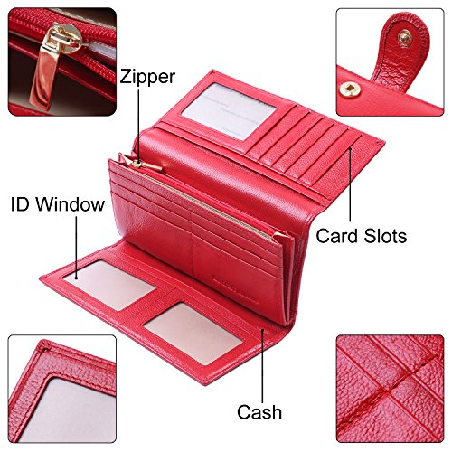 Women RFID Blocking Wallet Trifold Ladies Luxury Leather Clutch Travel Purse Red