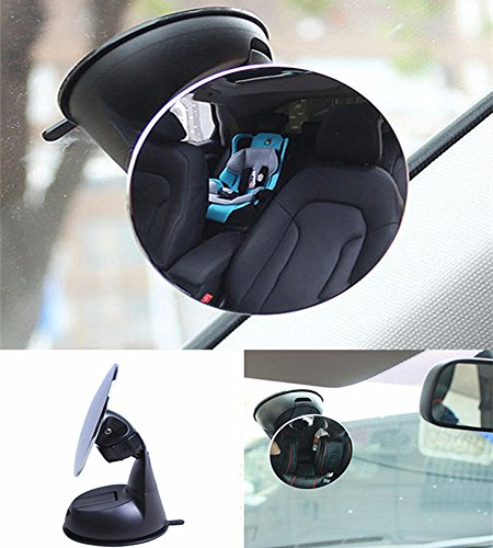 Moyishi Blind Spot Adjustable Baby Car Mirror 360° Rotate Suction Cup Rear Facing Mirror For All Universal Vehicles Car Fit (Black)