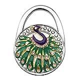 Grtdrm Peacock Theme Designed Folding Handbag Purse Bag Hanger Holder Great Gift (Green + Purple)