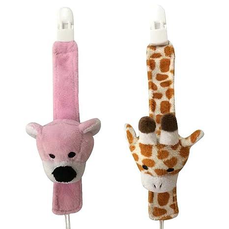 sfit 2pcs chupete clip soporte con jirafa oso de peluche ...