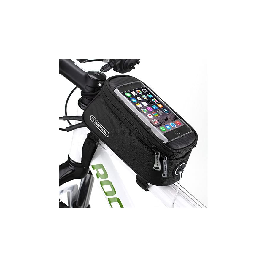 """Bike Phone Holder, Pouch, Accessories, Mount Cradle, Pannier Bag On MTB Mountain Bicycle Top Tube With Waterproof 5.5"""" Touch Screen For Cell Phone, Smart Phone, iphone 8 Plus, 8, 7s, Samsung"""