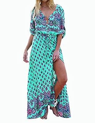 Boho Maxi Dress Floral Print Vacation Holiday Dress Long Sleeve Vintage Side Slit Bohemian Long Beach Maxi Party Dress Casual Women Dress