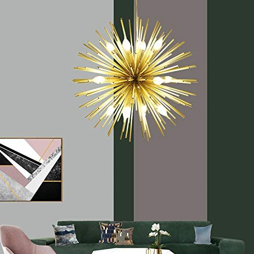 Golden Sputnik Chandelier Ceiling Light Lamp Pendant Lighting Fixture E14 Light Dia 29.5-Inch