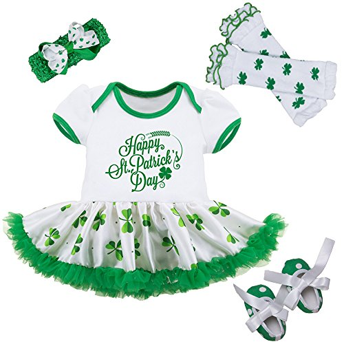 Baby Girls ST Patricks Day Outfit - Shamrocks Green Party Costume Tutu Dress Irish Infant Birthday Gift Clothing Set, L (6-12 Months) (St Patricks Day Baby Clothes)