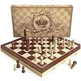 Toys : Wooden Chess Set: Universal Standard Wooden Chess Board Game Set - Handcrafted Wood Game Pieces, Pawns - With 15-inch Board and with Magnet Closure - Perfect Beginner Chess Set for Kids