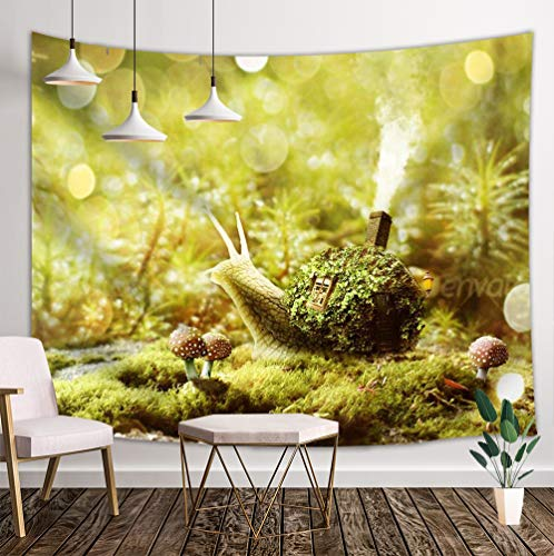 (JAWO Fantasy Snails Tapestry Wall Hanging, Fairy Snail Carrying House in Green Grass and Mushrooms Kids Wall Tapestry Home Decoration Wall Decor Art Tapestries for Bedroom Living Room College Dorm)