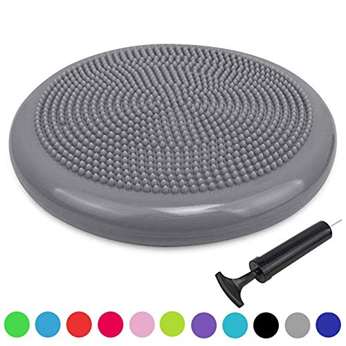 Sporthomer Extra Thick Core Balance Disc, Inflated Stability Wobble Cushion with Pump, Kids Wiggle Seat, Sensory Cushion for Yoga, Exercise, Elementary School Chair (Office & Home & Classroom) - Gray