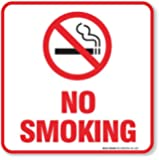 "(4 Pack) No Smoking Sign Self Adhesive "" 5½ X 5½"" 4 Mil Vinyl Decal - Indoor & Outdoor Use - UV Protected & Waterproof - Sleek, Rounded Corners"
