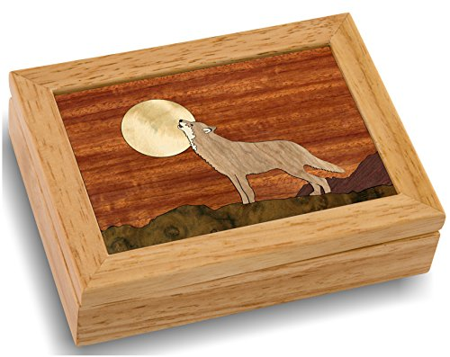 Wood Art Wolf Box - Handmade in USA - Unmatched Quality - Unique, No Two are the Same - Original Work of Wood Art. A Wolf Gift, Ring, Trinket or ()