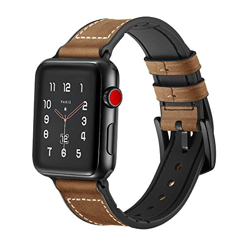 SUNKONG Compatible Apple Watch Band 42mm , Leather Meets Silicone-Newly Upgraded Sports and Fashion Sweatproof iWatch Band Olive Brown, Apple Watch Band Series 4 Series 3 Series 2 Series 1
