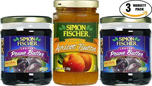 Simon Fischer Lekvar 18 oz Prune & 10.5 oz Apricot Butter, Fruit Butter - Variety Pack! Glass Jar, (Pack of 3, Total of 46.5 Oz)