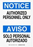 "Brady 90667 10"" Width x 14"" Height B-302 Polyester, Black and Blue on White Bilingual Sign, English and Spanish, Header ""Notice/Aviso"", Legend ""Authorized Personnel Only/Solo Personal Autorizado"""