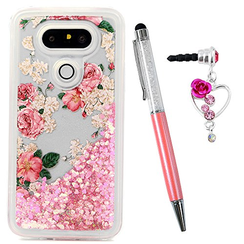 LG G5 Case, Liquid Glitter Case Bling Sparkle Shiny Flowing Moving Pink Love Hearts Cover Clear Ultra Slim Protective TPU Bumper with Stylus Pen Plug Dust for Girl ZSTVIVA - Red Rose Flowers