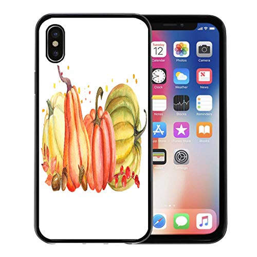 (Semtomn Phone Case for Apple iPhone Xs case,Green Thanksgiving Autumn Composition of Pumpkin and Leaves Watercolor Orange Fall for iPhone X Case,Rubber Border Protective)