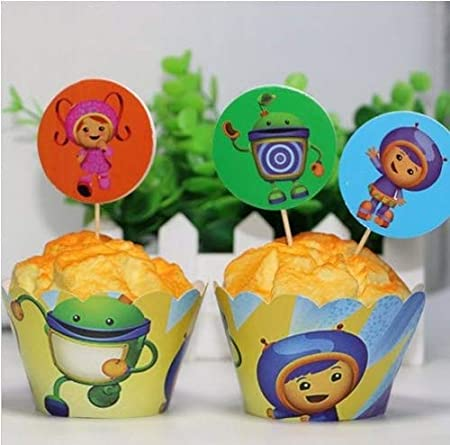 12X TEAM UMIZOOMI KIDS PARTY BIRTHDAY CAKE CUPCAKE WRAPPER TOPPER Amazoncouk Kitchen Home