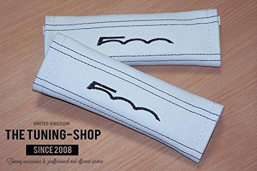 La tuning-shop Ltd 2/x almohadillas de cintur/ón de seguridad para el hombro Marfil piel negro 500/Edition para Fiat 22/cm x 6/cm