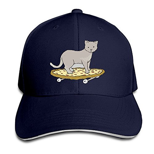 Cat On Pizza Skateboard Sandwich Cap Comfortable Hip Hop Cap Navy