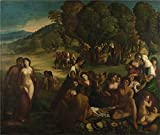 The High Quality Polyster Canvas Of Oil Painting 'Dosso Dossi A Bacchanal ' ,size: 10 X 12 Inch / 25 X 30 Cm ,this High Resolution Art Decorative Canvas Prints Is Fit For Nursery Artwork And Home Artwork And Gifts