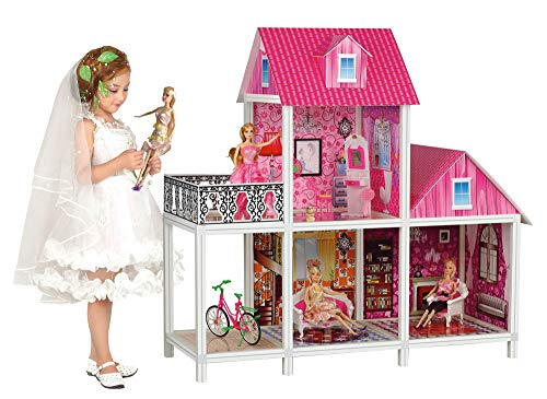 Bettina 39'' Large Plastic Dollhouse with 3 Dolls, Big Playhouse Set with Furniture, Pink ()