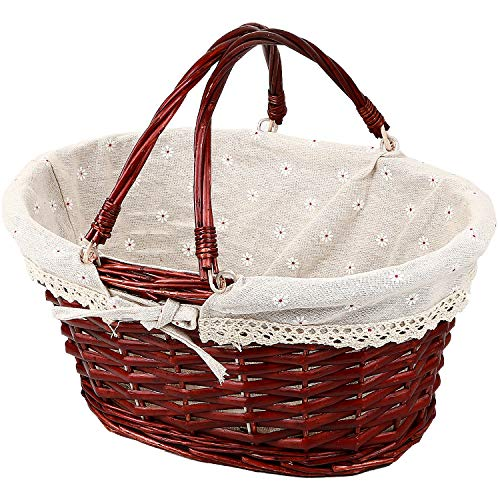 KINJOEK Wicker Woven Basket, Multipurpose Natural Willow Basket with Handle Premium Linen Cotton Cloth Lining for Storage and Decoration - Brown