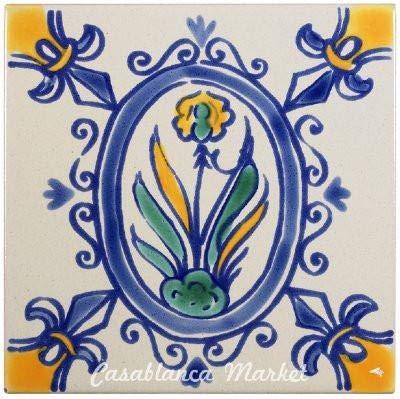 Casablanca Market MT019 Mediterranean Ceramic Iris Decorative Tile, Blue/Grey