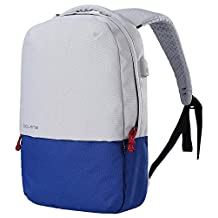 Bolang Water Resistant Casual Daypack School Laptop Backpack with USB Charging Port 8849 (White/Dark Blue, One Size)